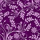 Purple And Pink Retro Floral Swirls Design by artonwear