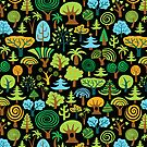 Assorted Colorful Cute Trees Pattern, Black Background by artonwear