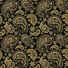 Elegant Gold Tones Vintage Paisley Ornate Pattern Design by artonwear