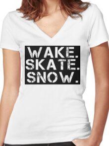 Wake. Skate. Snow. 2 Women's Fitted V-Neck T-Shirt