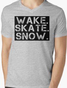 Wake. Skate. Snow. 2 Mens V-Neck T-Shirt