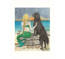 Mermaid Newfoundland Dog Crabs Cathy Peek Art Print