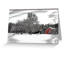 Red Barn and Apple Trees Greeting Card