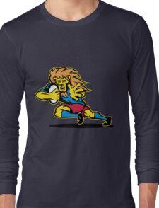 rugby player lion running ball Long Sleeve T-Shirt