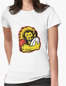 rugby player lion holding ball Womens Fitted T-Shirt