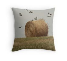 Hairy Hay Bale and Birds Throw Pillow