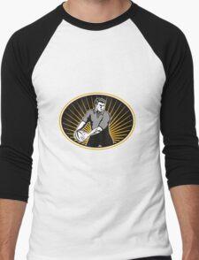 rugby player passing ball Men's Baseball ¾ T-Shirt