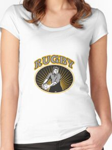 rugby player passing ball with text Women's Fitted Scoop T-Shirt