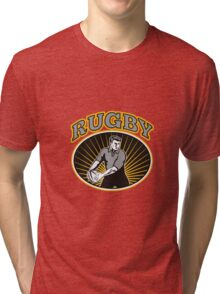 rugby player passing ball with text Tri-blend T-Shirt