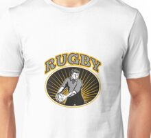 rugby player passing ball with text Unisex T-Shirt