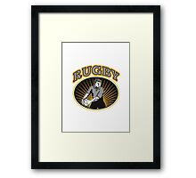 rugby player passing ball with text Framed Print
