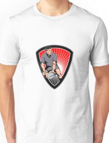 rugby player running ball in shield Unisex T-Shirt