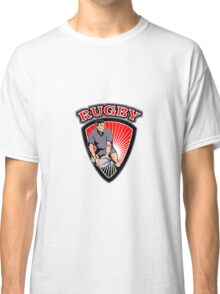rugby player running ball in shield with text Classic T-Shirt