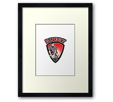 rugby player running ball in shield with text Framed Print
