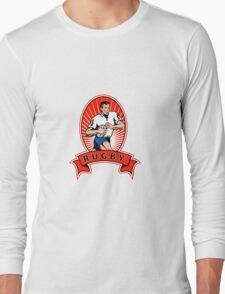 rugby player attacking ball Long Sleeve T-Shirt