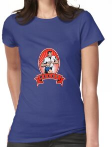 rugby player attacking ball Womens Fitted T-Shirt