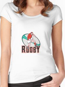 rugby player charging Women's Fitted Scoop T-Shirt
