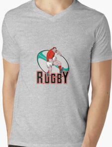rugby player charging Mens V-Neck T-Shirt