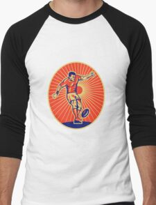 rugby player kicking ball Men's Baseball ¾ T-Shirt