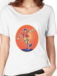 rugby player kicking ball Women's Relaxed Fit T-Shirt
