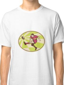 rugby player kicking ball side low Classic T-Shirt