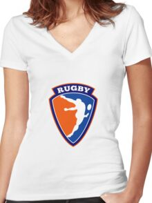 rugby player kicking ball Women's Fitted V-Neck T-Shirt