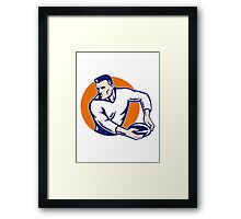 rugby player passing ball vintage Framed Print