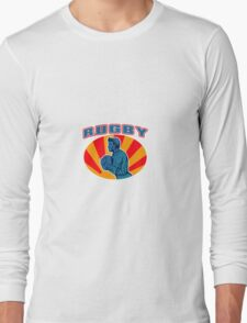 rugby player running ball with text Long Sleeve T-Shirt