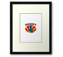 rugby player running ball with text Framed Print