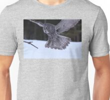Great Grey Owl About to Land Unisex T-Shirt