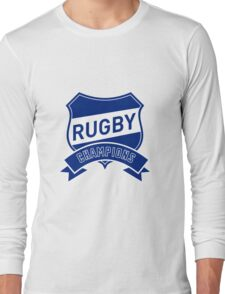 rugby champions text shield and scroll Long Sleeve T-Shirt