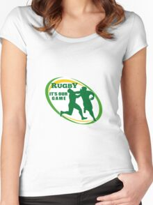 rugby players fending and attacking Women's Fitted Scoop T-Shirt