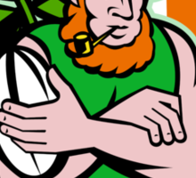 Irish leprechaun rugby player Sticker