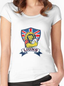 rugby player lion with ball Women's Fitted Scoop T-Shirt