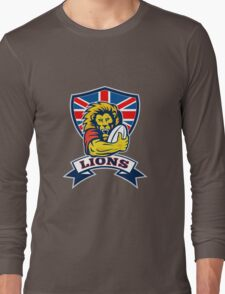 rugby player lion with ball Long Sleeve T-Shirt