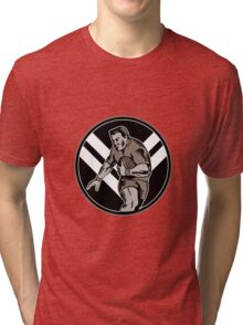 rugby player running ball Tri-blend T-Shirt