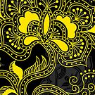 Black And Yellow Retro Floral Design. by artonwear