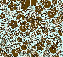 Brown And Blue Vintage Floral Damasks Pattern by artonwear