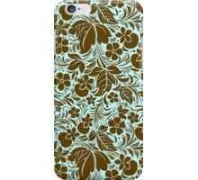 Brown And Blue Vintage Floral Damasks Pattern iPhone Case/Skin