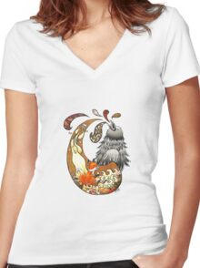 The Fox, the Crow, and the Cookie Women's Fitted V-Neck T-Shirt