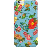 Colorful Retro Floral Collage 2 On Blue-Green Background iPhone Case/Skin
