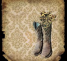 rustic modern brown damask western country cowboy boots by lfang77