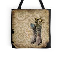 rustic modern brown damask western country cowboy boots Tote Bag