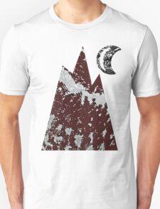 Mountain & Moon in Black T-Shirt