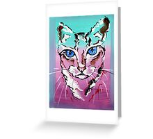 Colorful Cat - Animal Art by Valentina Miletic Greeting Card