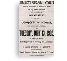 Electrical Men, 1902 (framed) Canvas Print