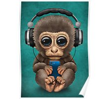 Cute Baby Monkey With Cell Phone Wearing Headphones Blue Poster