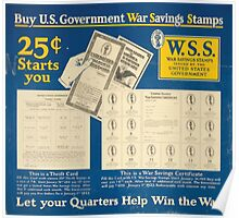 Buy US government War Savings Stamps 25centsstarts you Let your quarters help win the war 002 Poster