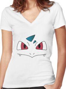 Ivysaur's face Women's Fitted V-Neck T-Shirt