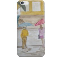 Watching people cross a wet street. iPhone Case/Skin